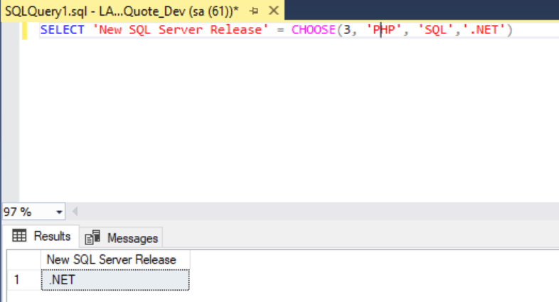 SQL Query CHOOSE