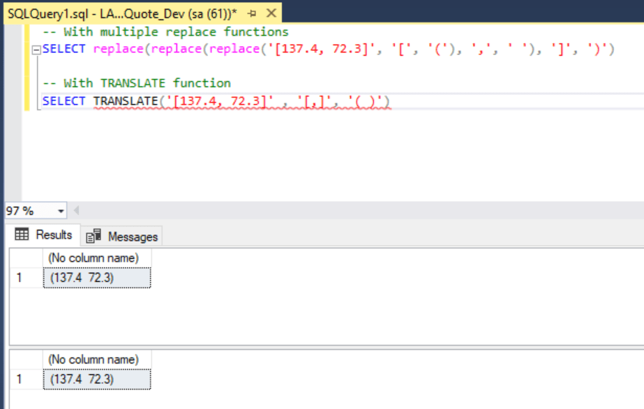 SQL Query TRANSLATE